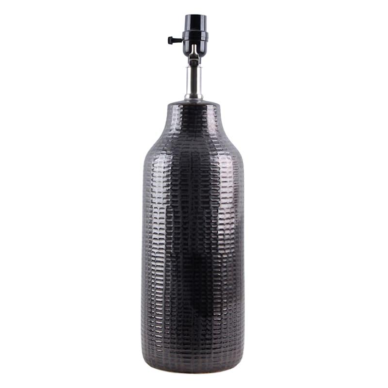 20in Black Textured Ceramic Table Lamp