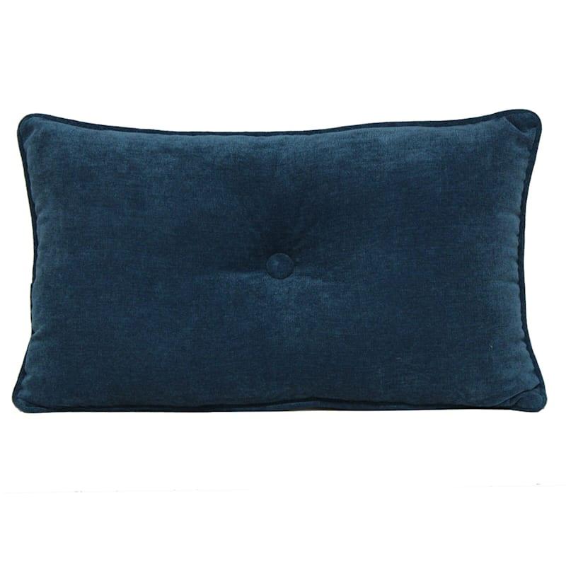 Avalon Teal Plush Oblong Button Pillow 13X20