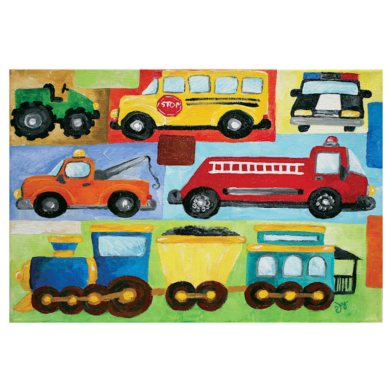 22X22 Childrens Cars Trucks And Trains Canvas