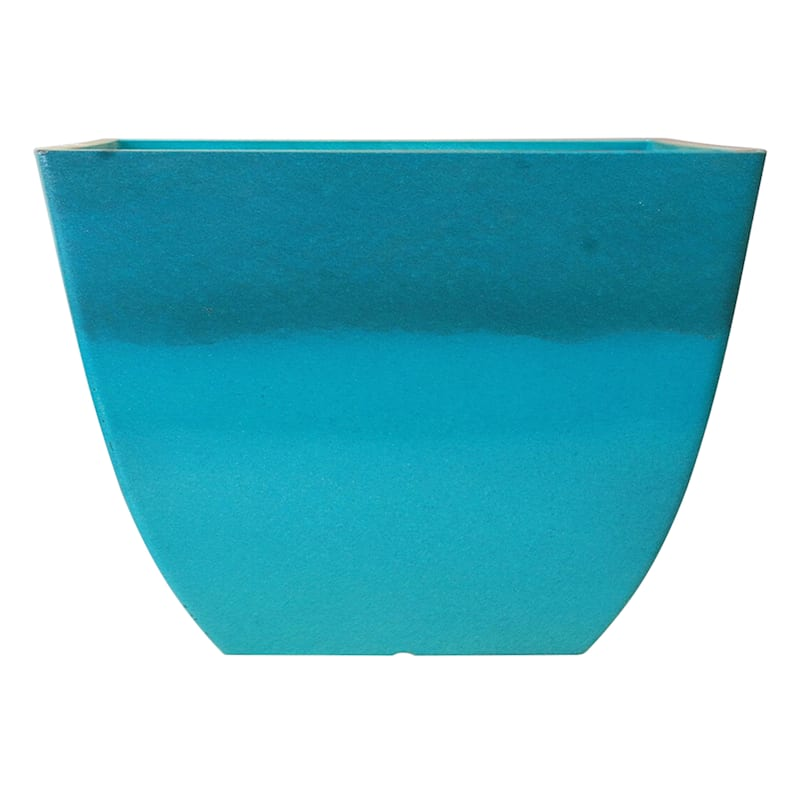 16in. Resin Newland Low/Square Planter Turquoise