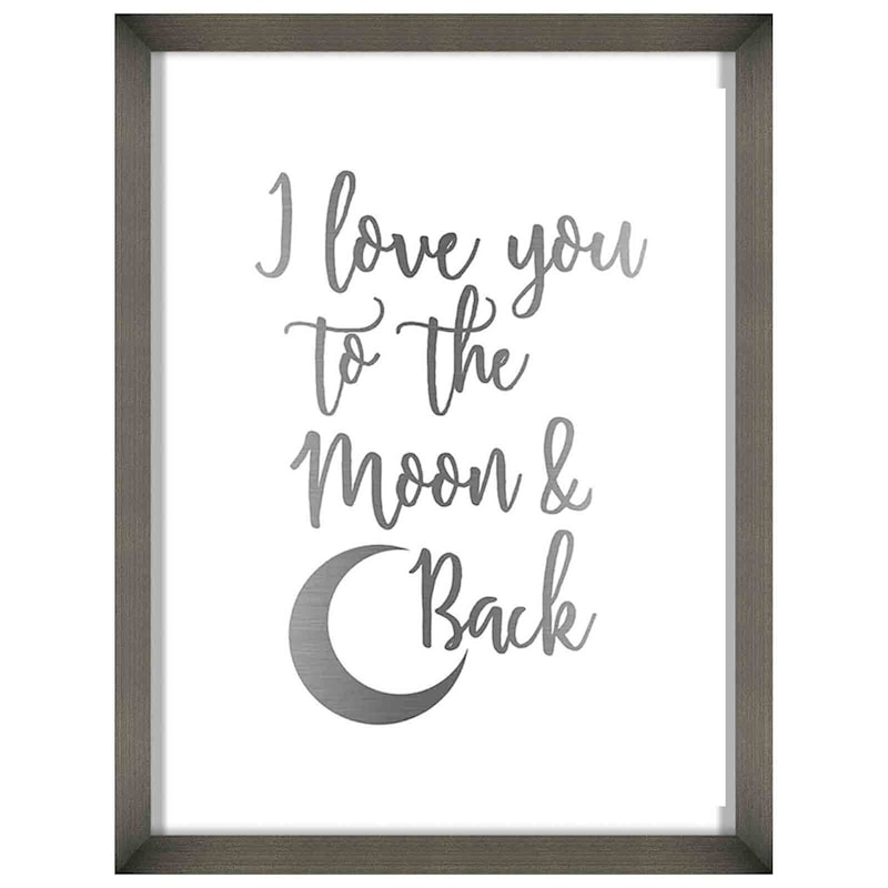 12X16 Love You To The Moon And Back Foiled Art Framed/Glass