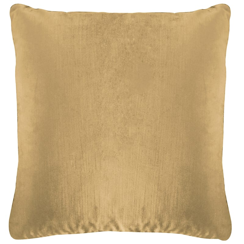 Gillmore Taupe Velvet Throw Pillow, 18x18