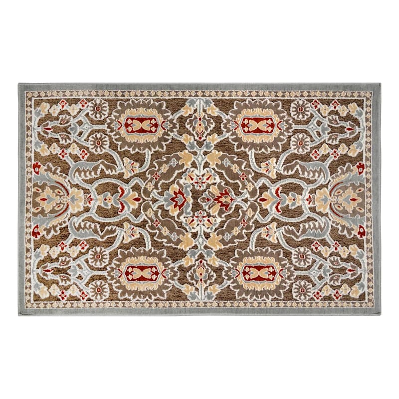 Arrington Medallion Chenille High/Low Textured Accent Rug Taupe/Spice, 2x4