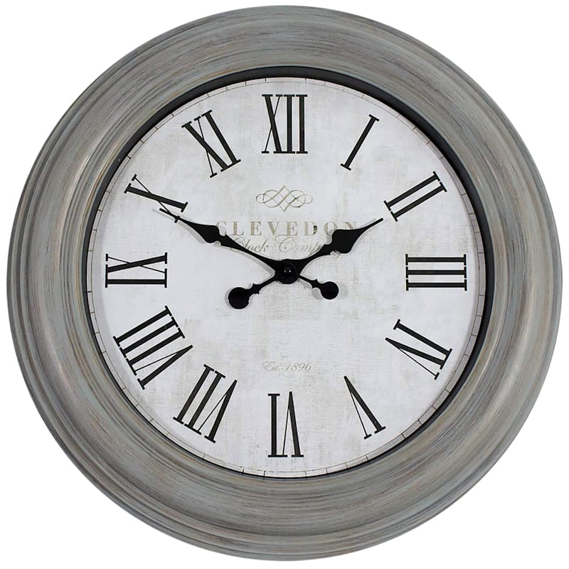 24X24 Grey Distressed Clock With Roman Numerals