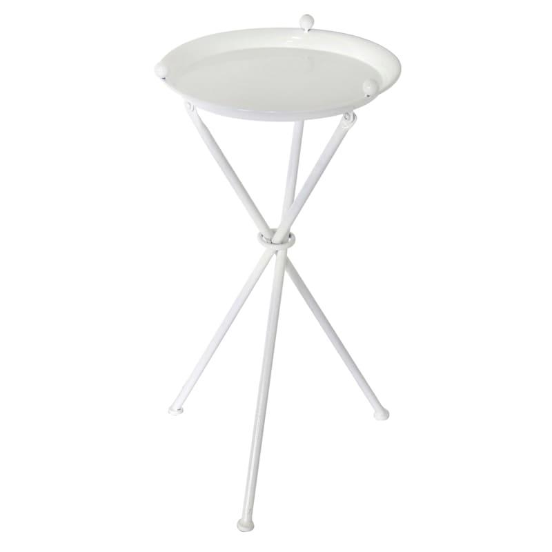 "White Metal Table, 24"""