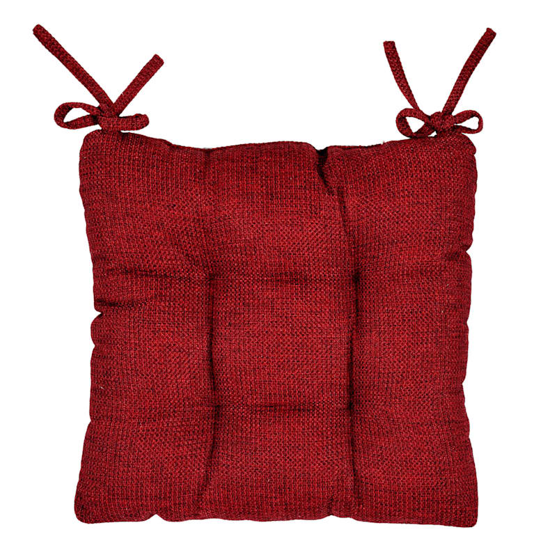 Clayton Chair Pad Polyester Woven Textured Red
