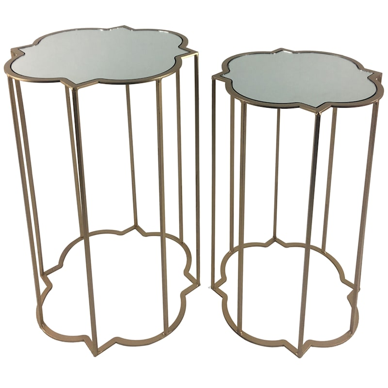 Plum Blossom Shape Mirror Top Plant Stand With Gold Metal Base, Small