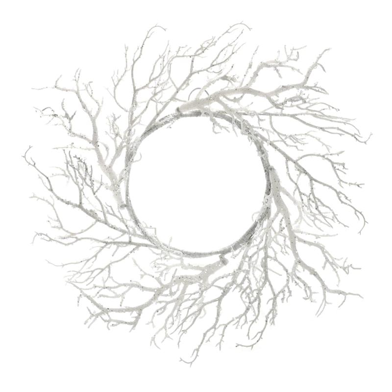 """White Glittered Twig Wreath, 22"""""""