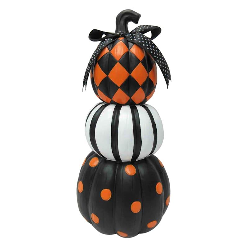"""Multicolored 3-Pumpkin Stack, 12"""""""