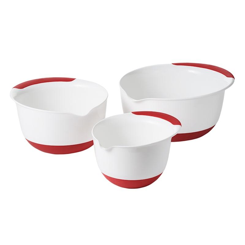 OXO 3-Piece Red & White Mixing Bowl Set