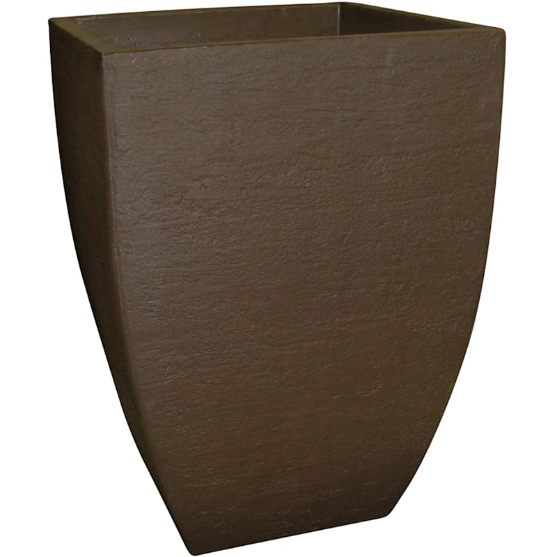 21X14.5 All Weather Proof Polyresin Modern Square Planter Coffee