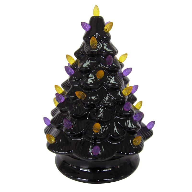 """Ceramic Black & Purple Lit Tree, 10"""""""