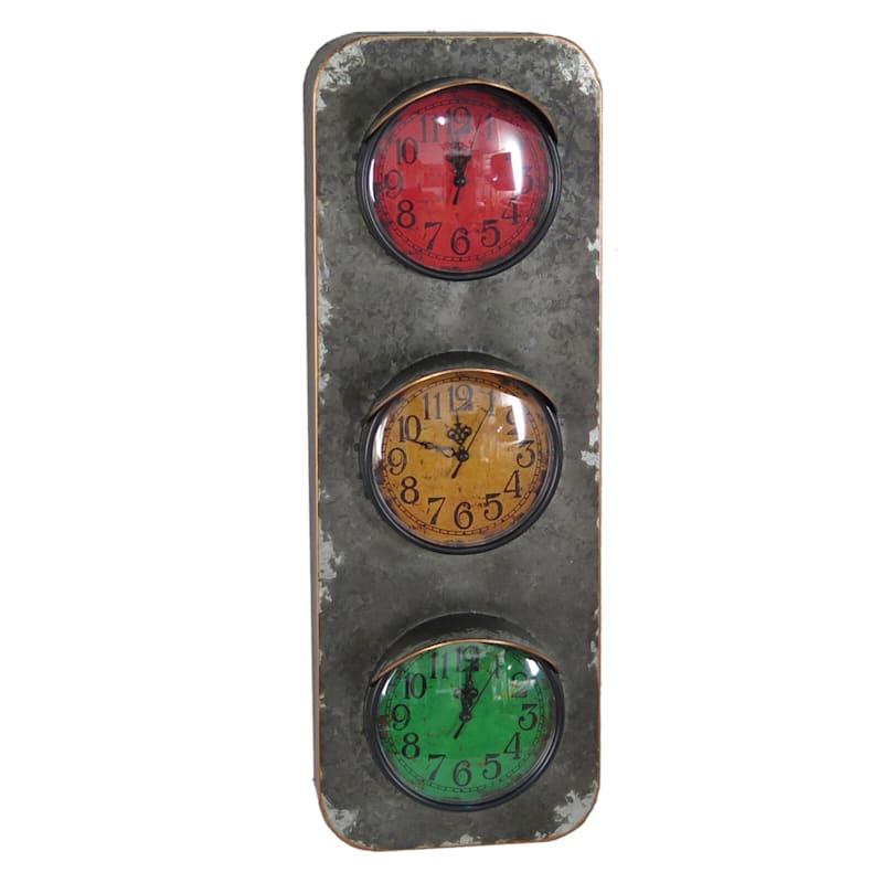 9X26 Metal Three Colors Wall Clock