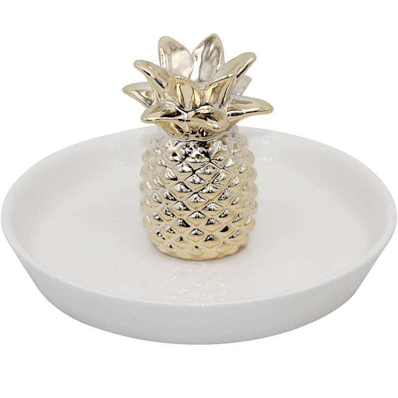 5.5in. Ceramic Gold Pineapple Trinket Tray