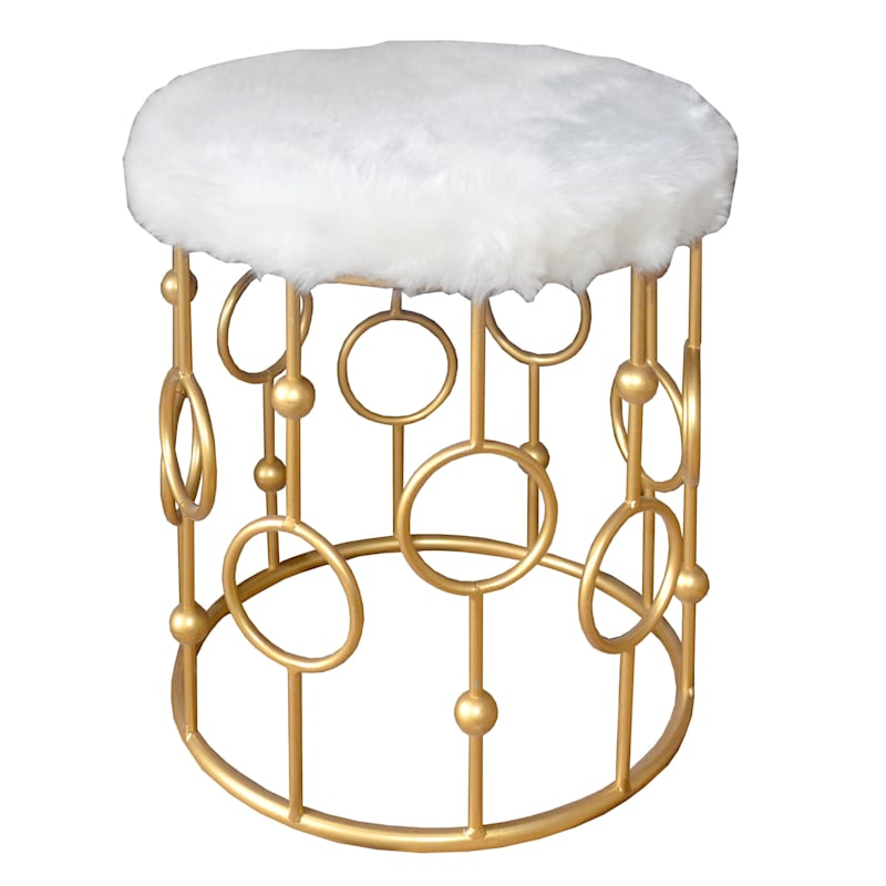 Ivory Faux Fur Gold Ring Stool