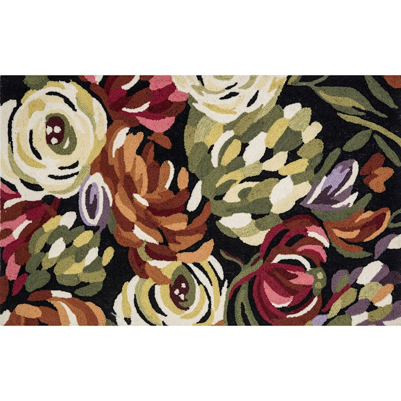 Summerton Black Floral Hooked Accent Rug, 2x4
