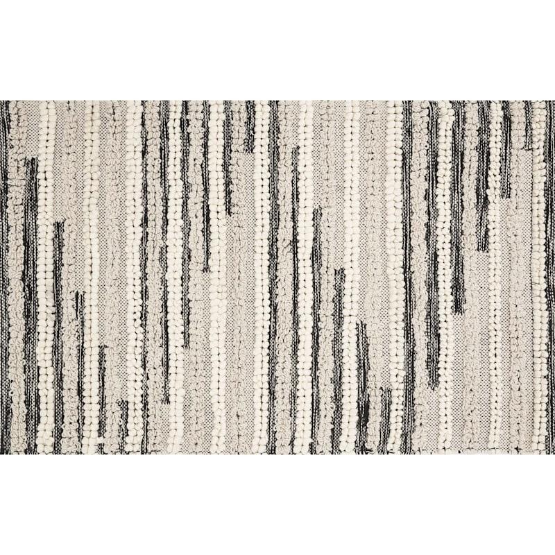 Eddie Hand Woven Natural & Black Cotton Accent Rug, 2x4