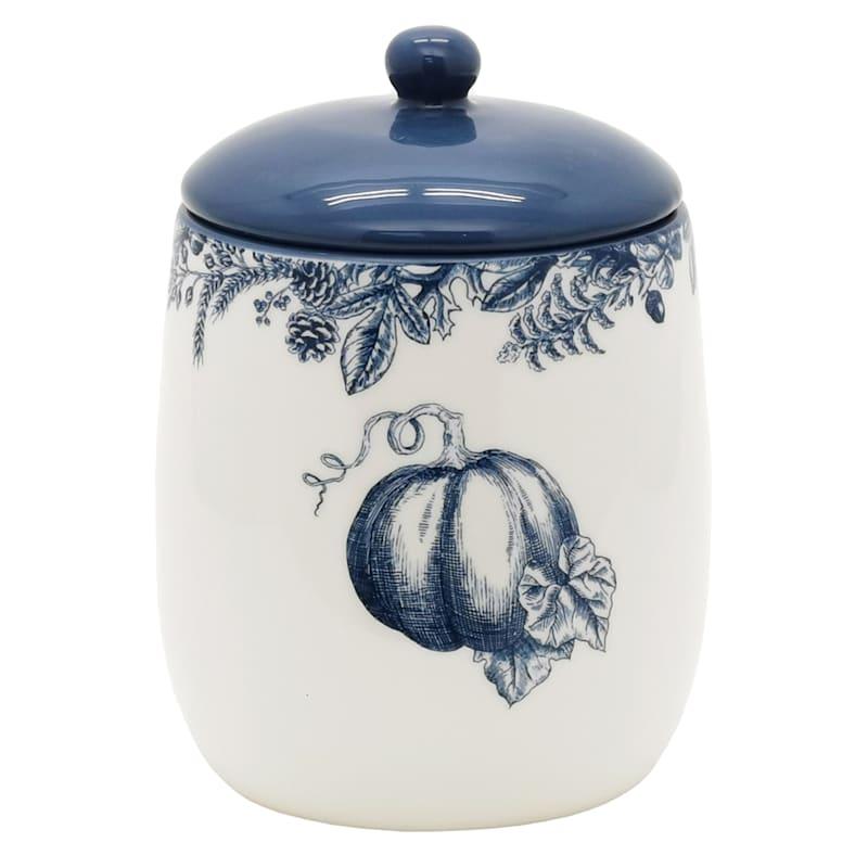 6in Pumpkin Toile Ceramic Canister