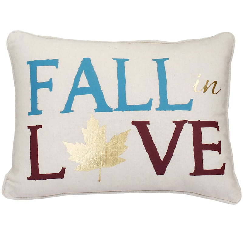"""""""Fall in Love"""" Throw Pillow with Gold Leaf, 18"""" x 14"""""""