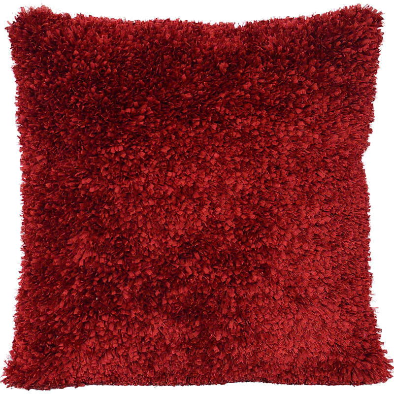 Moove Red Shag Pillow 24X24