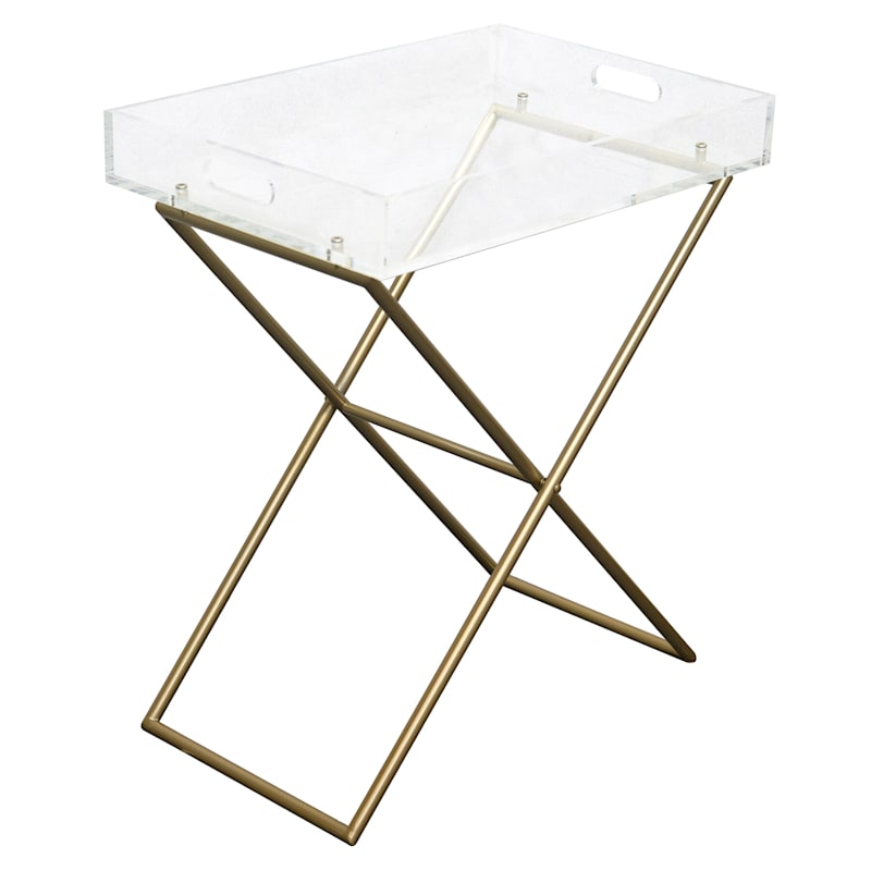 Acrylic Tray Accent Table With Gold Metal Base