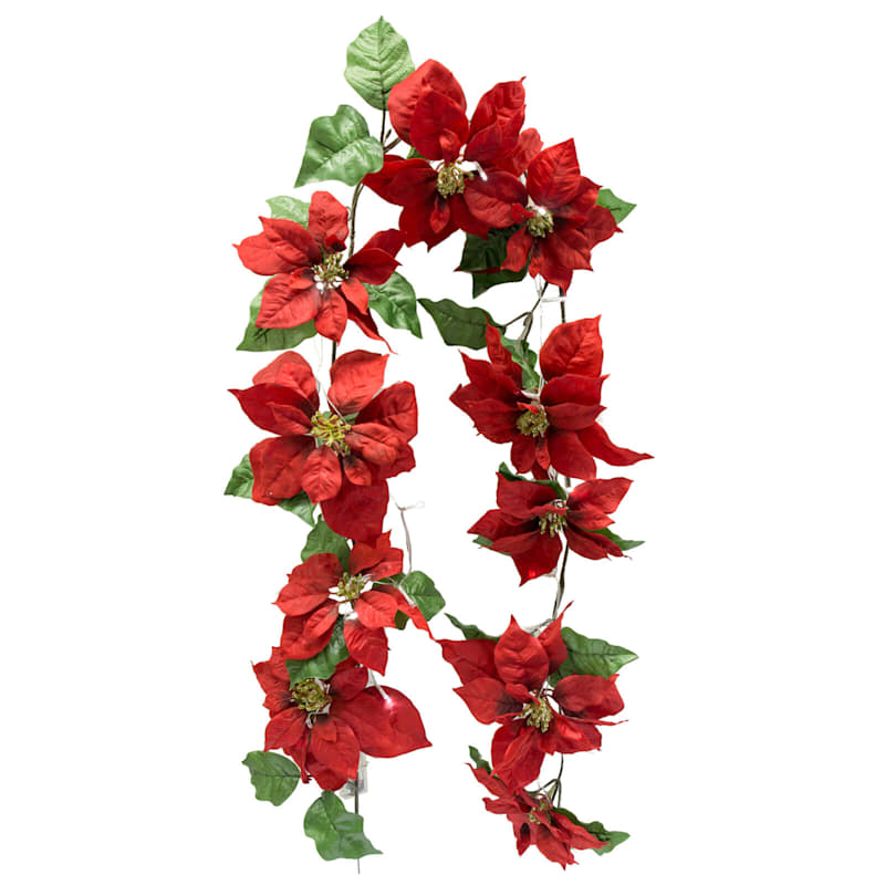 LED Red Poinsettia Garland, 6'