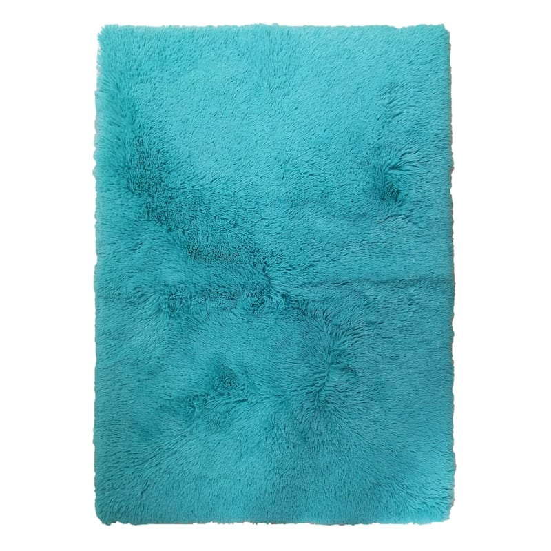 FAUX FUR TEAL ACCENT RUG 31X44