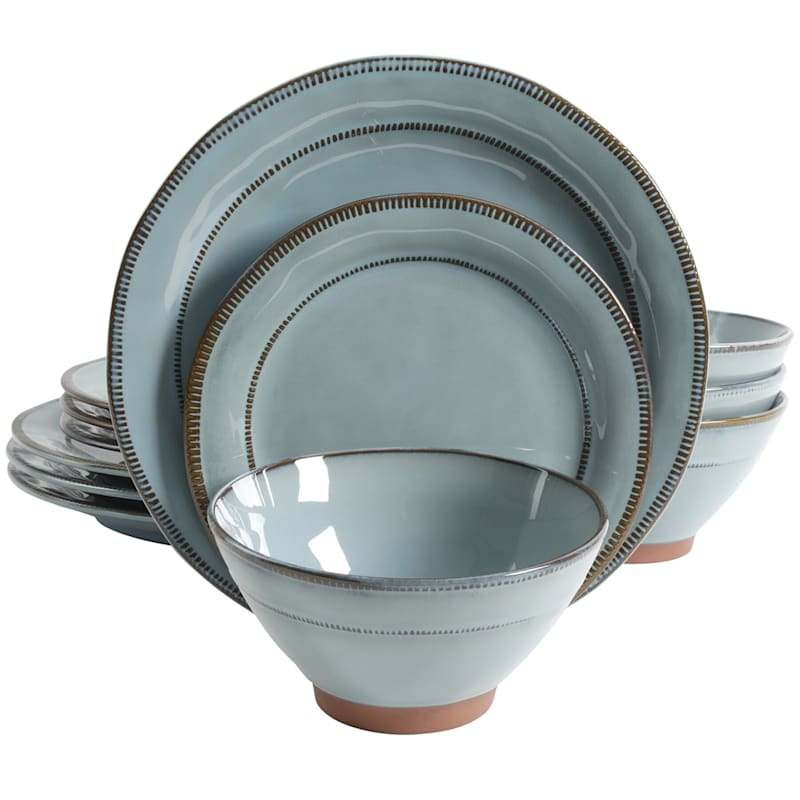 Terranea 12-Piece Dinnerware Set Teal Reactive Terracotta