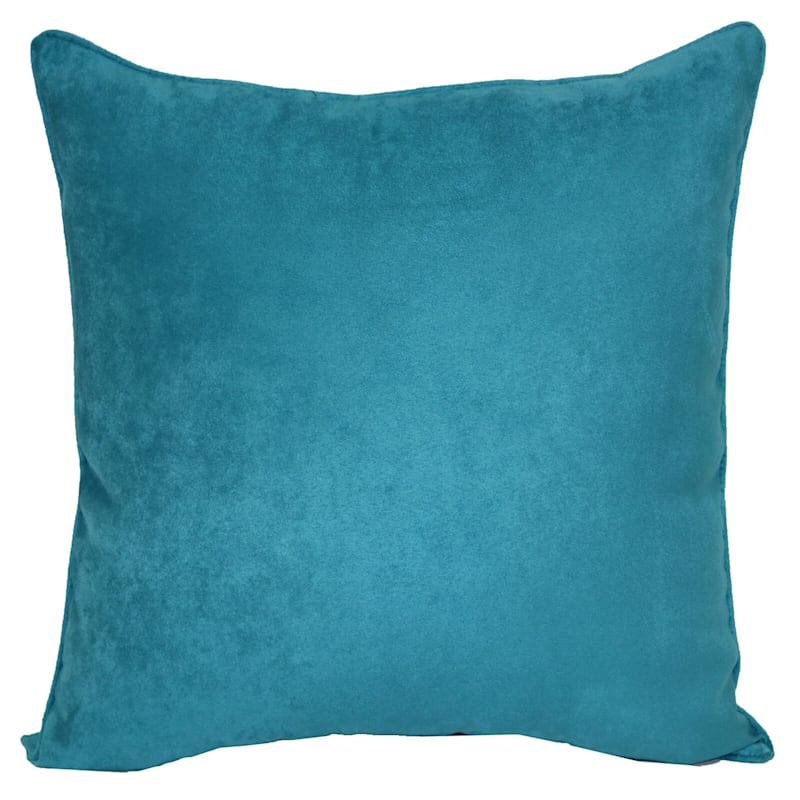 Turquoise Heavy Faux Suede Pillow 18X18