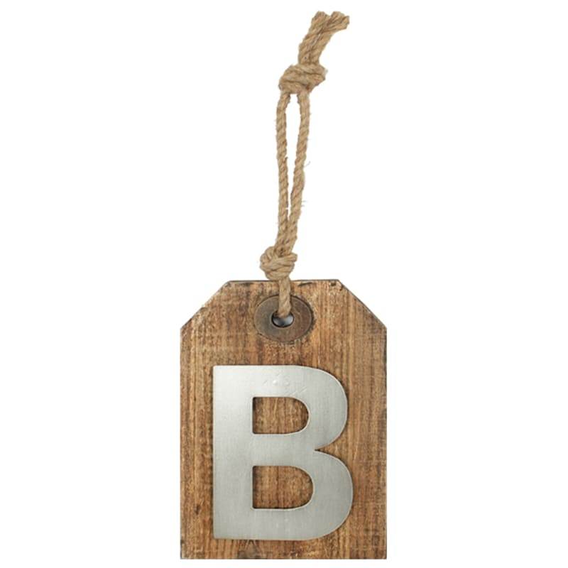 5X8 Hanging Wood With Metal Letter B