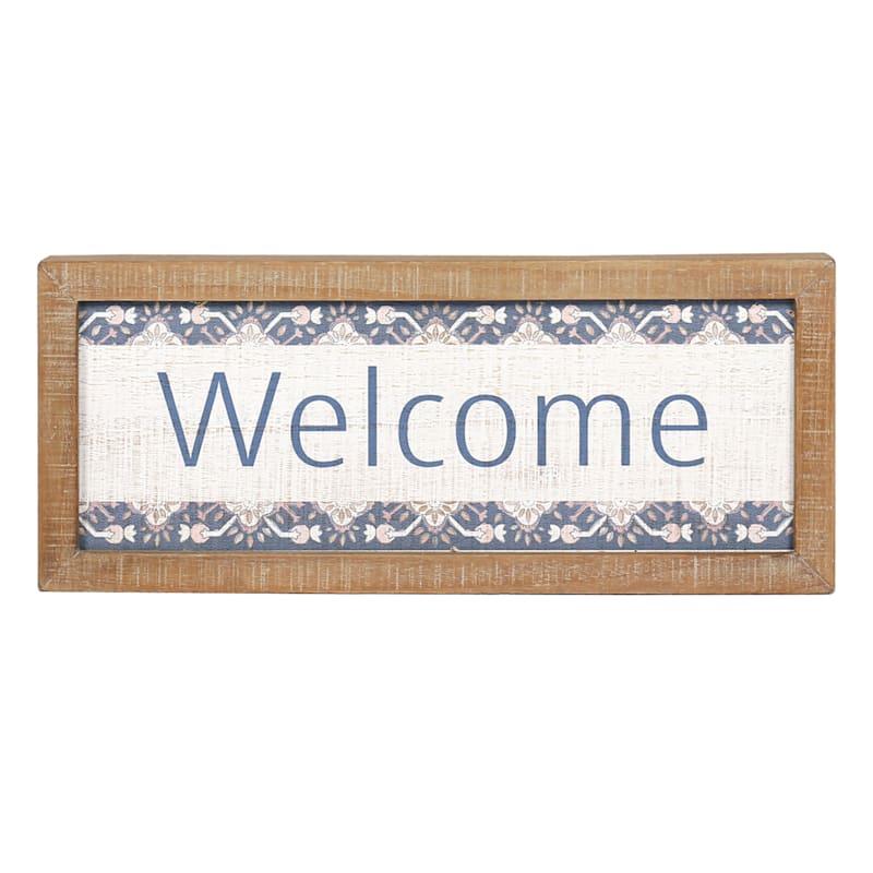 12 X 5 BLU/WHITE WELCOME SIGN