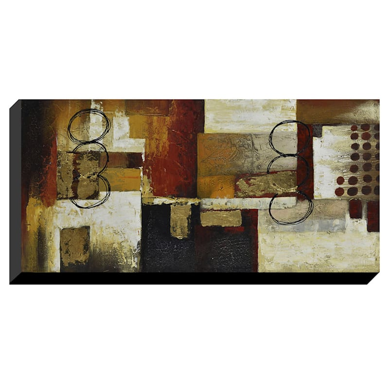 24X48 Triple Circle Abstract Enhanced Canvas