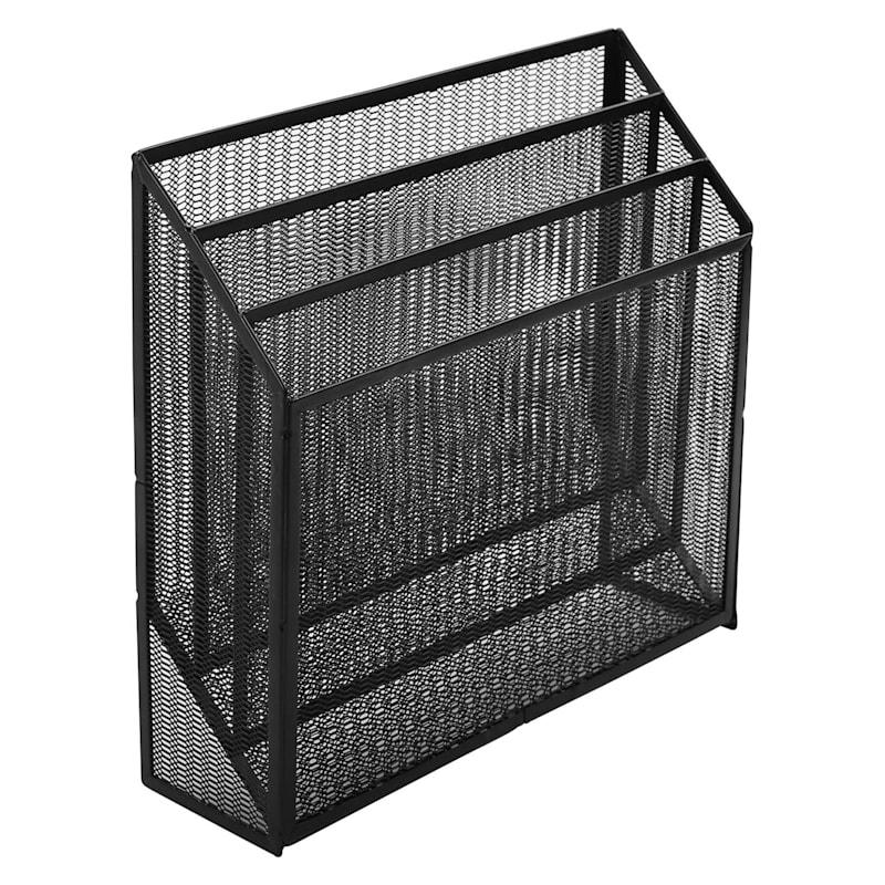Metal Mesh 3-Tier Desktop File Organizer Black