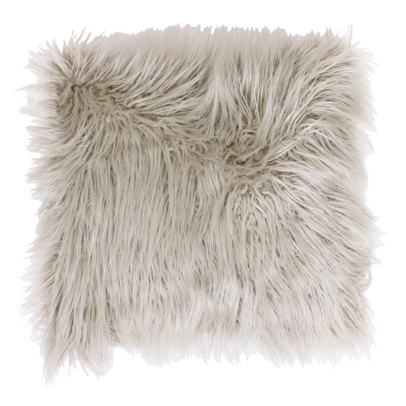 Keller Oatmeal Mongolian Faux Fur Pillow 26in.