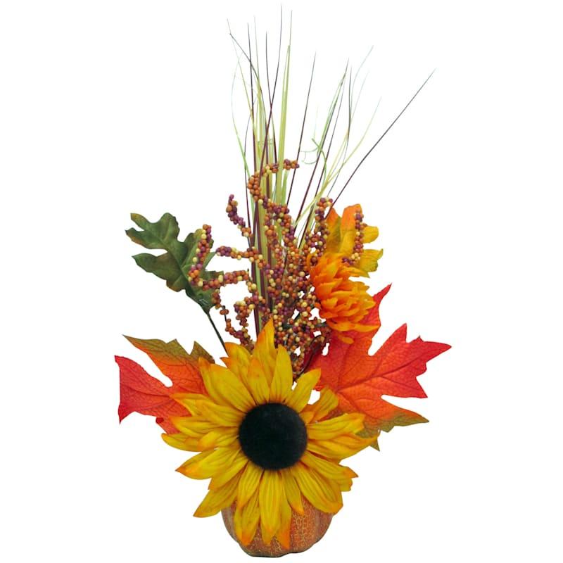 Yellow Sunflower in Orange Pumpkin Arrangement