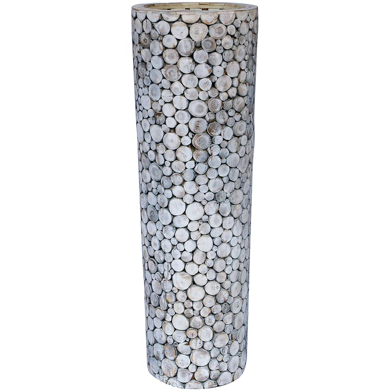 36in. Recycled Acacia Wood Cylinder Vase