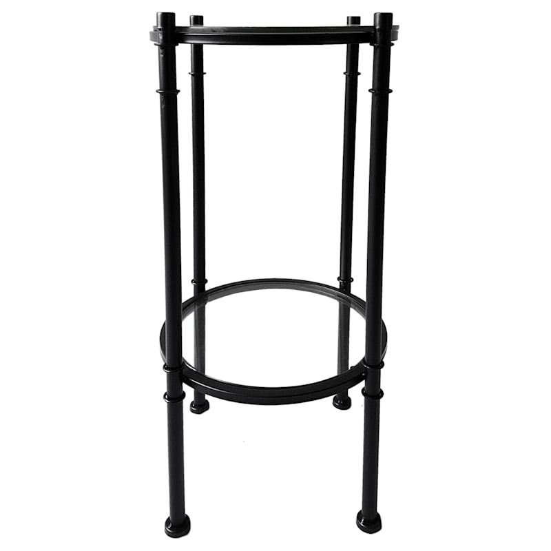 Tempered Glass Top With Black Metal Frame 2 Tier Plant Stand