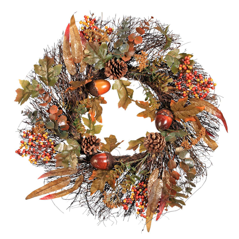24in Acorn and Berry Twig Wreath