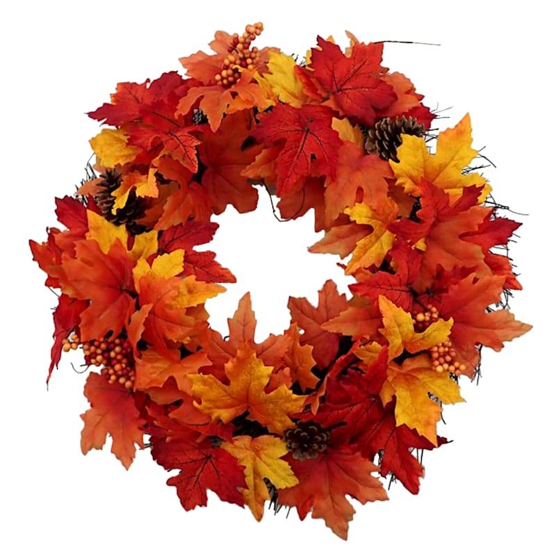 "Maple, Berry & Cone Wreath, 2"""