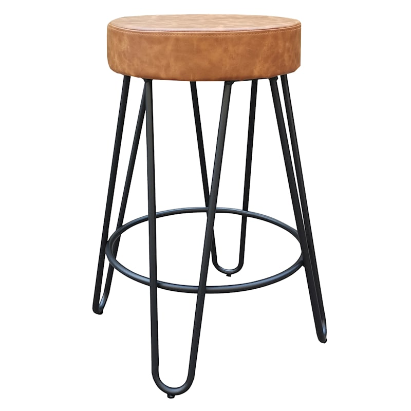 Verona Cognac Faux Leather Backless Counter Stool With Metal Base