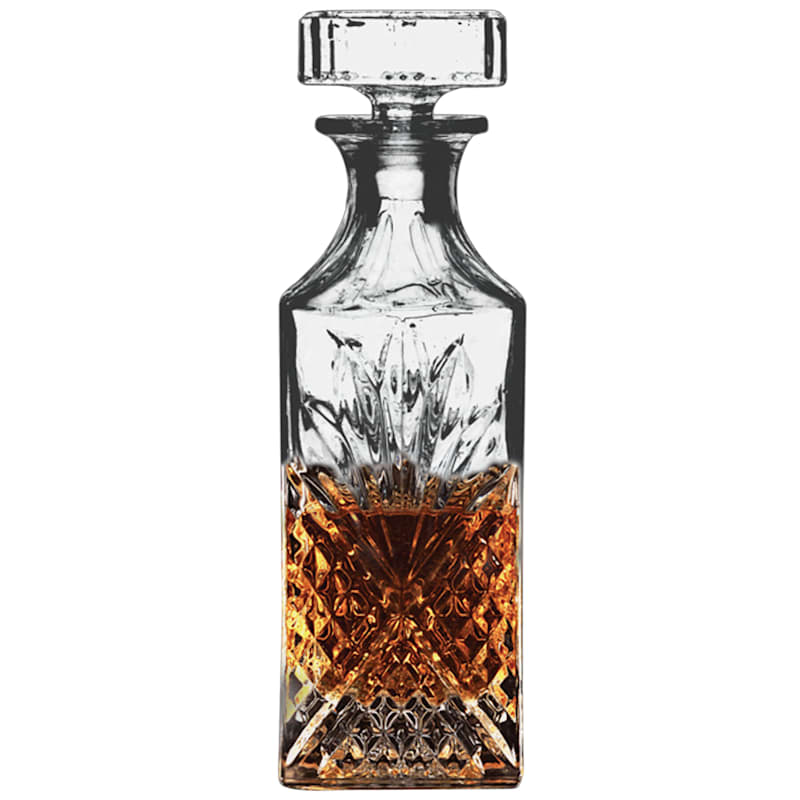 Cut Glass Look Glass Whiskey Decanter 28oz