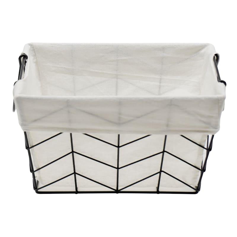 Rectangle Chevron Wire Black Basket W/Handle M