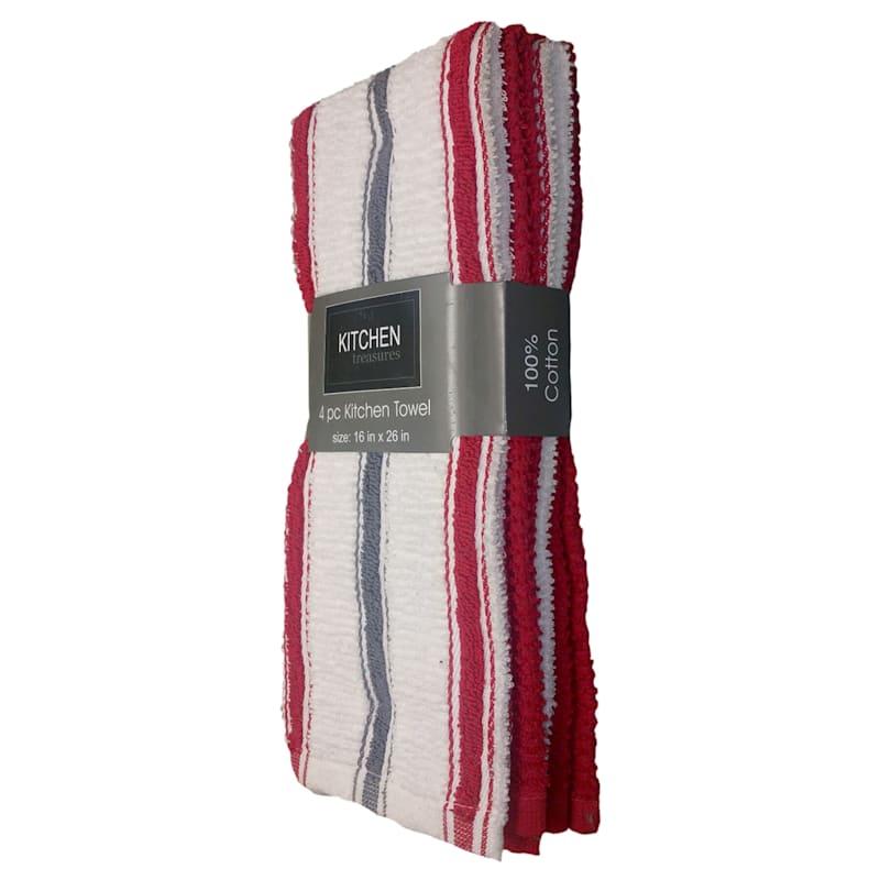 4-Piece Red/Dark Grey Stripe Kitchen Towel