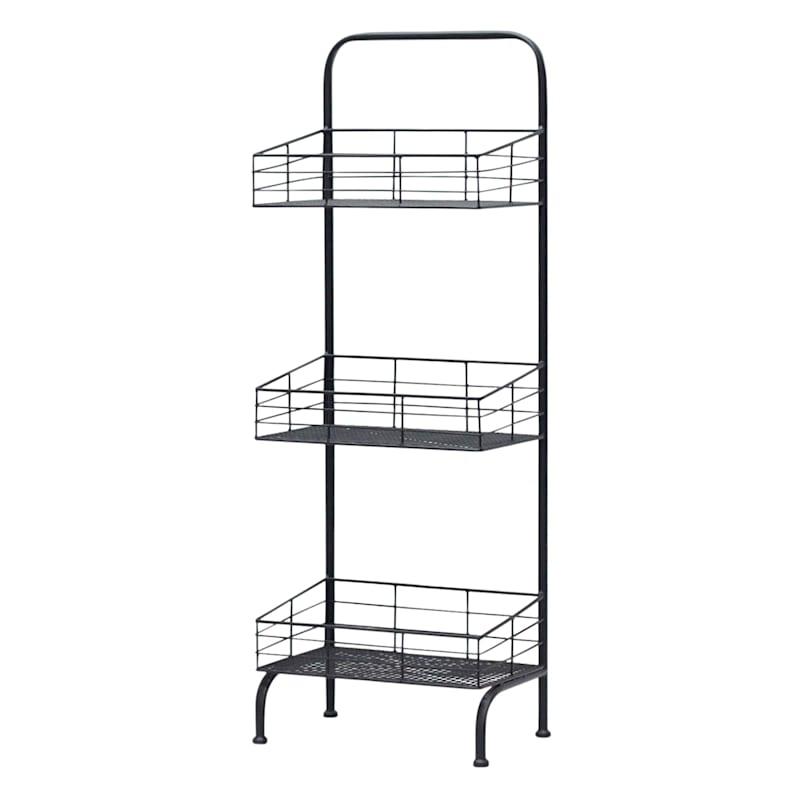 Black 3 Tier Square Storage Basket, Small