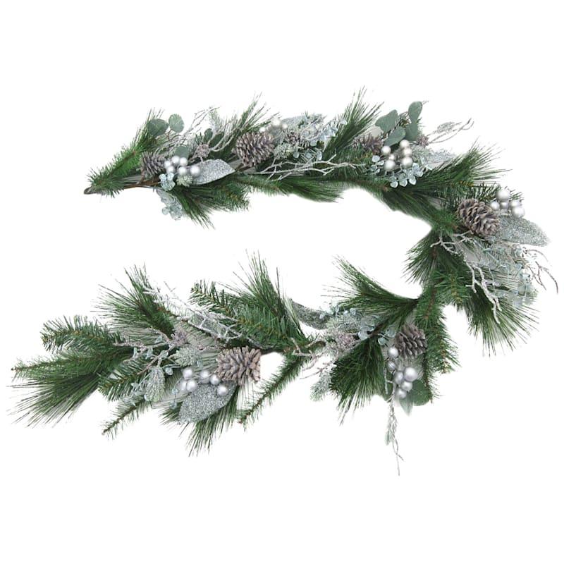 Flocked Silver Glitter Garland, 6'
