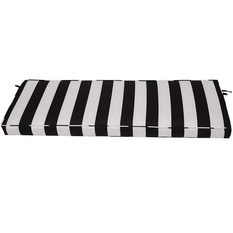 Black Awning Stripe Outdoor Bench Cushion