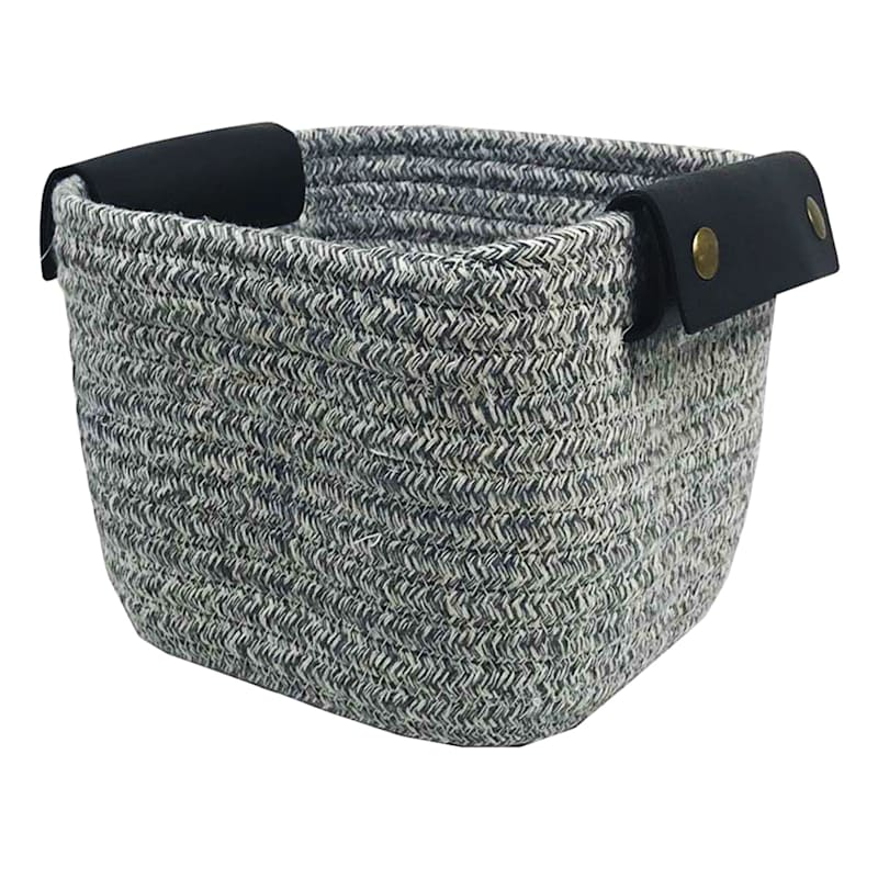 8X8X5 Black Square Rope Basket/Leather Handle