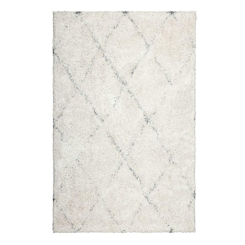 (C103) Soft Diamond Patterned Long Pile Ivory & Grey Shag, 5x7