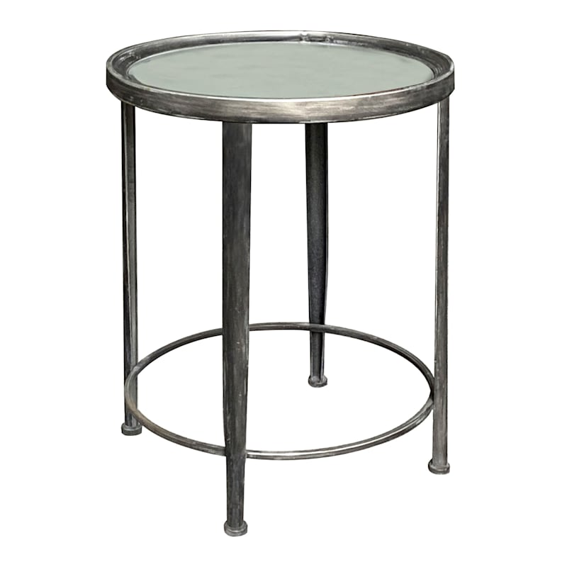 Mirror Top Accent Table With Distressed Metal Base, Large