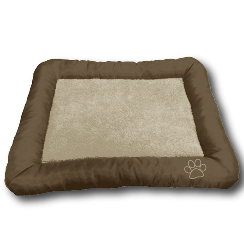 Paw Embroidered Crate Mat 36X23 Chocolate Tan
